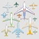 Vector Airplanes Icons Top View Vector