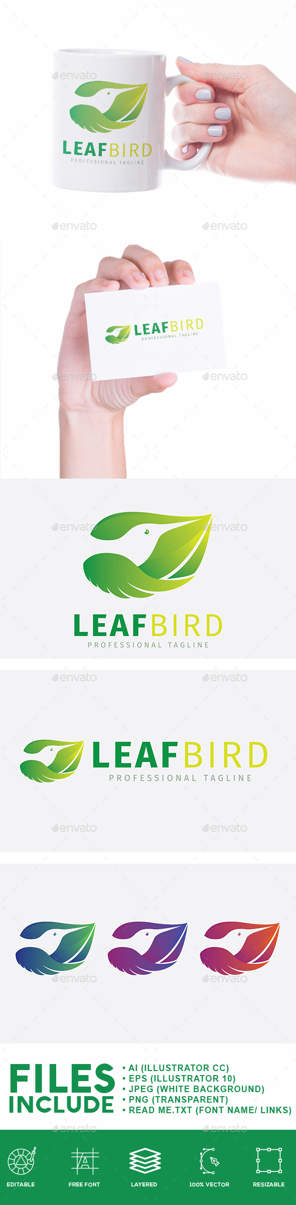 Leaf Bird Nature Logo - Animals Logo Templates