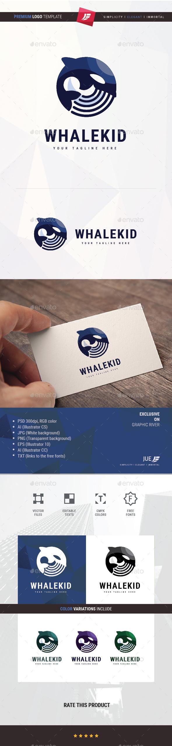 Whale Kid Logo - Animals Logo Templates