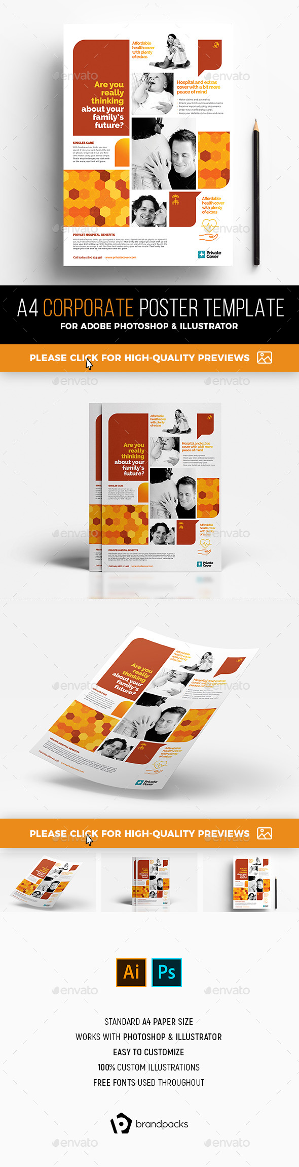 A4 Corporate Poster Template - Corporate Flyers
