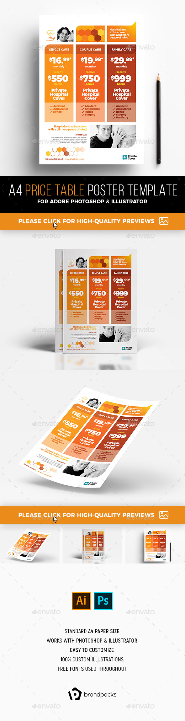 A4 Price Table Poster Template - Corporate Flyers