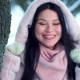 Smiling Woman From Asia in Snowy Garden - VideoHive Item for Sale