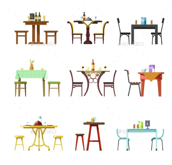 Tables and Chairs Vector Icons of Restaurant, Cafe - Food Objects