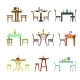 Tables and Chairs Vector Icons of Restaurant, Cafe - GraphicRiver Item for Sale