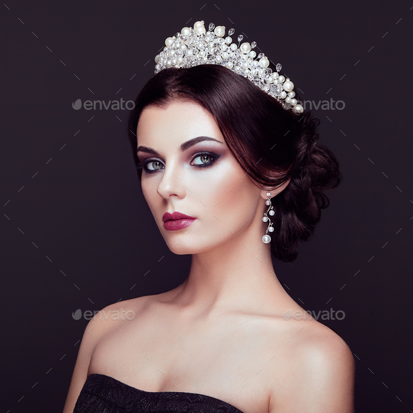 Fashion portrait of beautiful woman with tiara on head - Stock Photo - Images