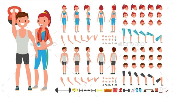 Fitness Girl, Man Vector. Animated Sport Male - People Characters