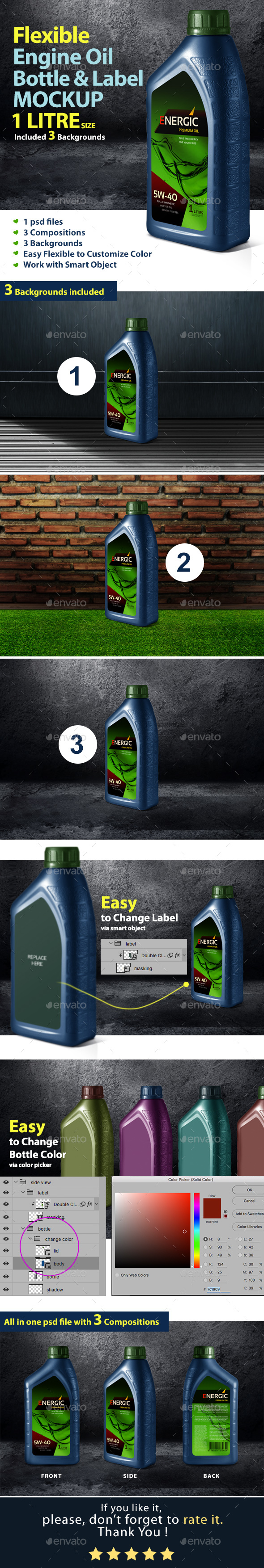 Engine Oil Bottle & Label Mockup - Miscellaneous Product Mock-Ups
