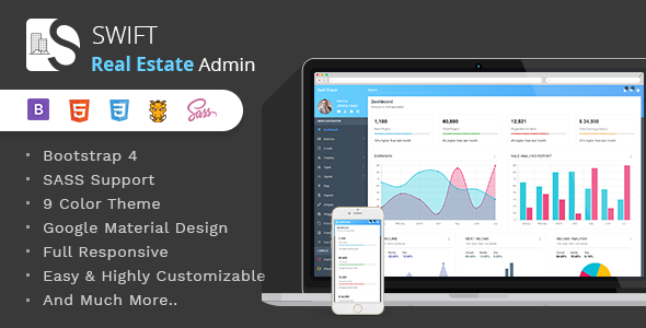 Swift Real Estate - Bootstrap4 Material Dashboard Template - Admin Templates Site Templates