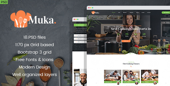 Muka - Bakery and Cooking Classes PSD Template