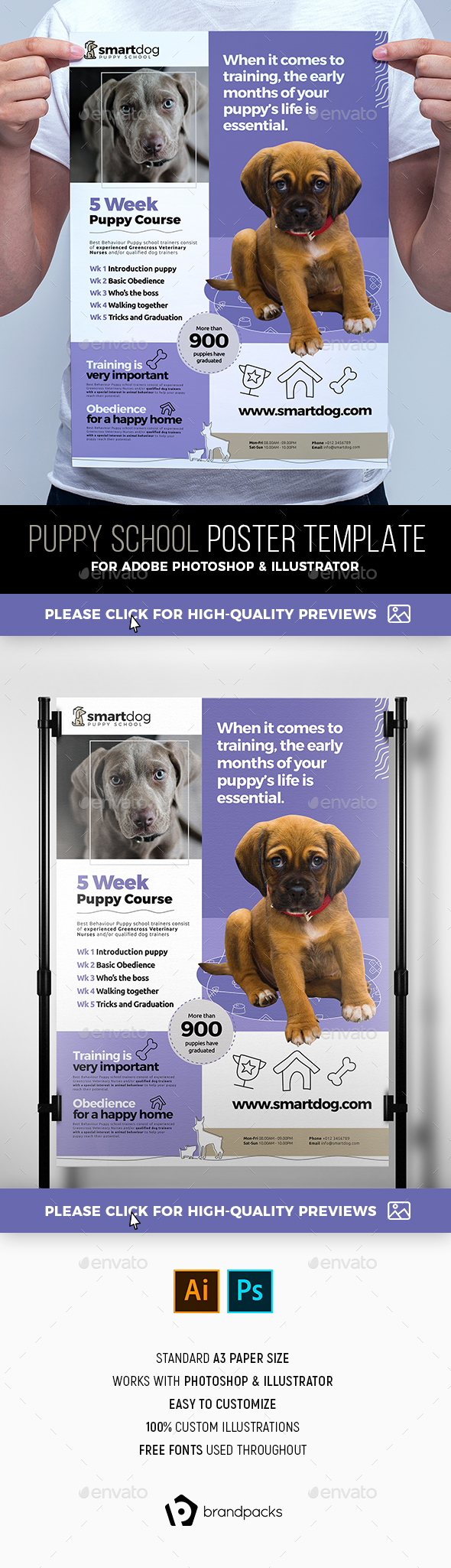 Puppy School Poster Template - Commerce Flyers