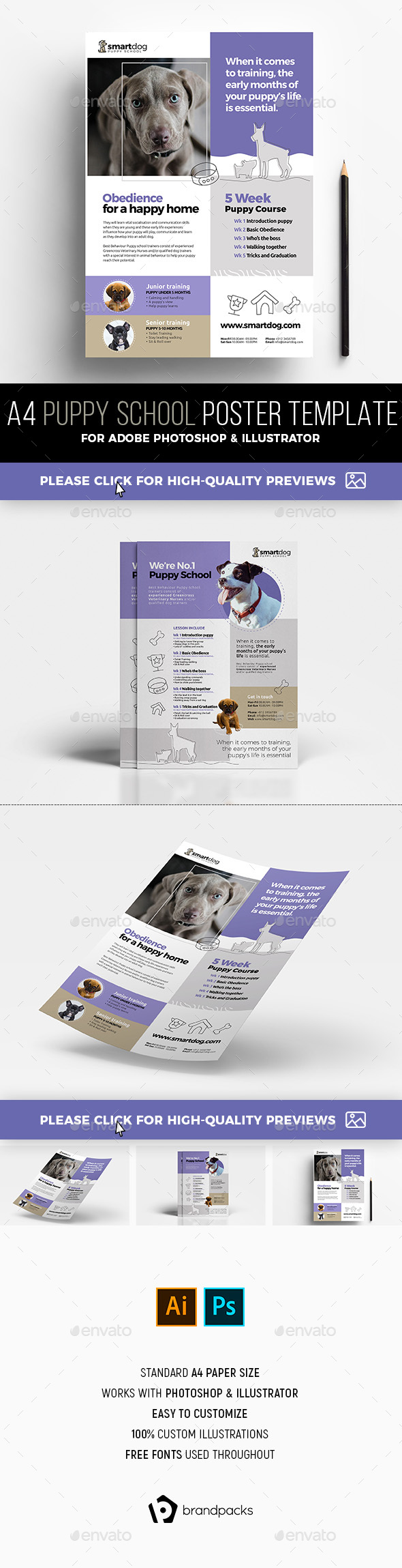 A4 Puppy School Poster Templates - Commerce Flyers
