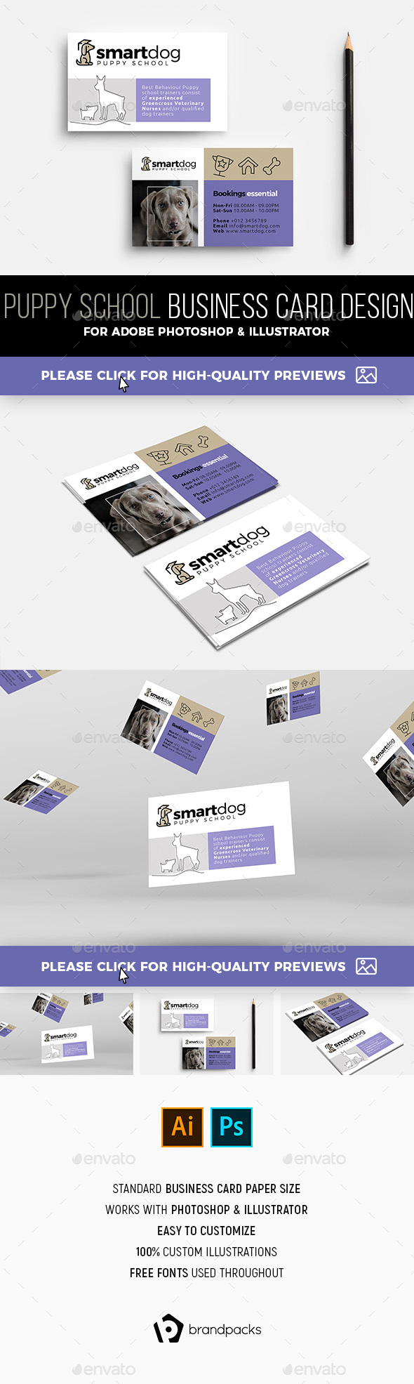 Puppy School Business Card Template - Commerce Flyers