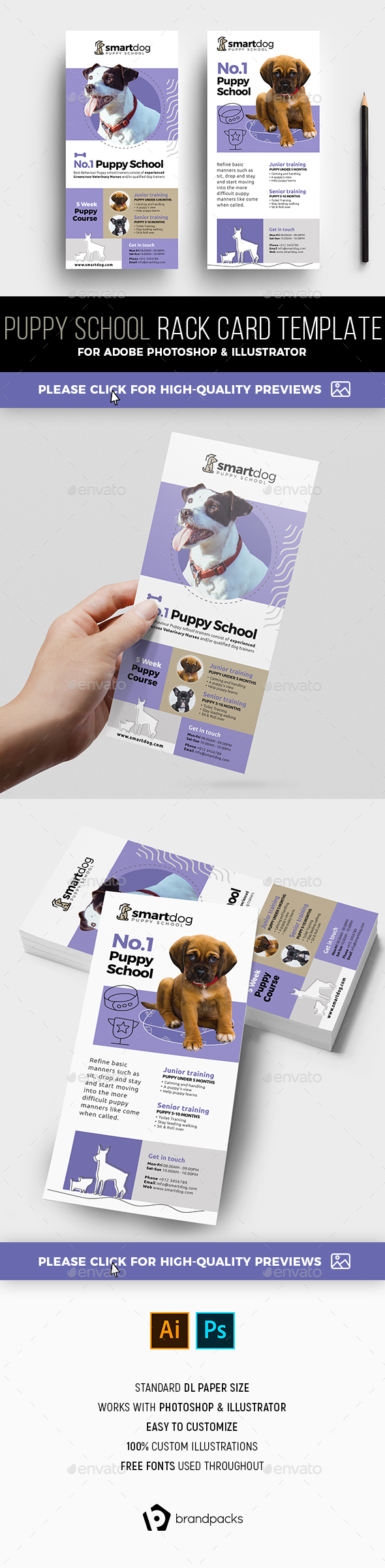 Puppy School Rack Card Template - Commerce Flyers