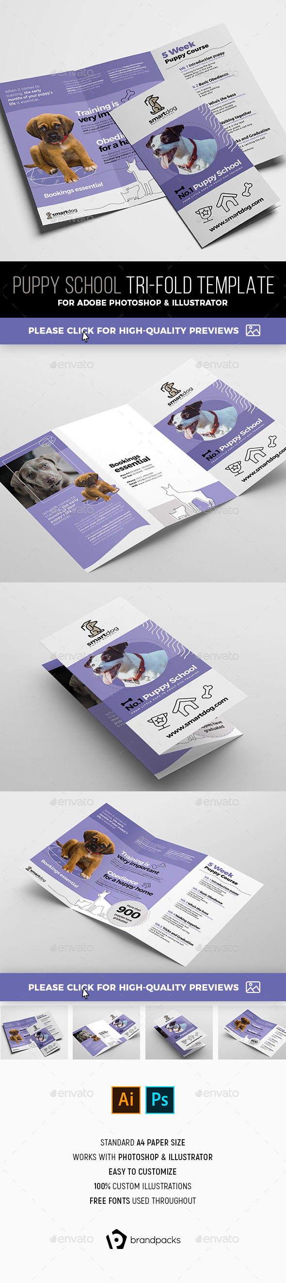Puppy School Tri-Fold Brochure Template - Corporate Brochures