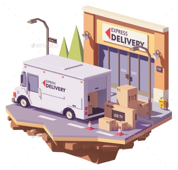 Vector Low Poly Delivery Van - Man-made Objects Objects