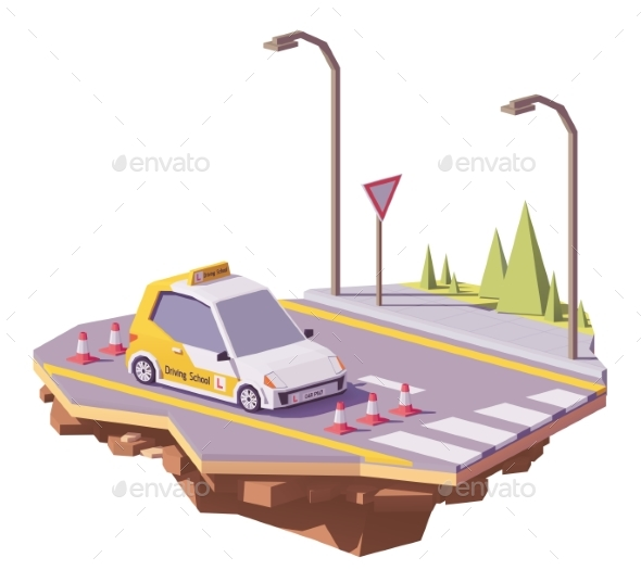 Vector Low Poly Driving School Car - Man-made Objects Objects