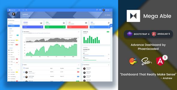 Mega Able Bootstrap 4 & Angular 5 Admin Dashboard Template