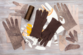 various items for gloves production on table - PhotoDune Item for Sale
