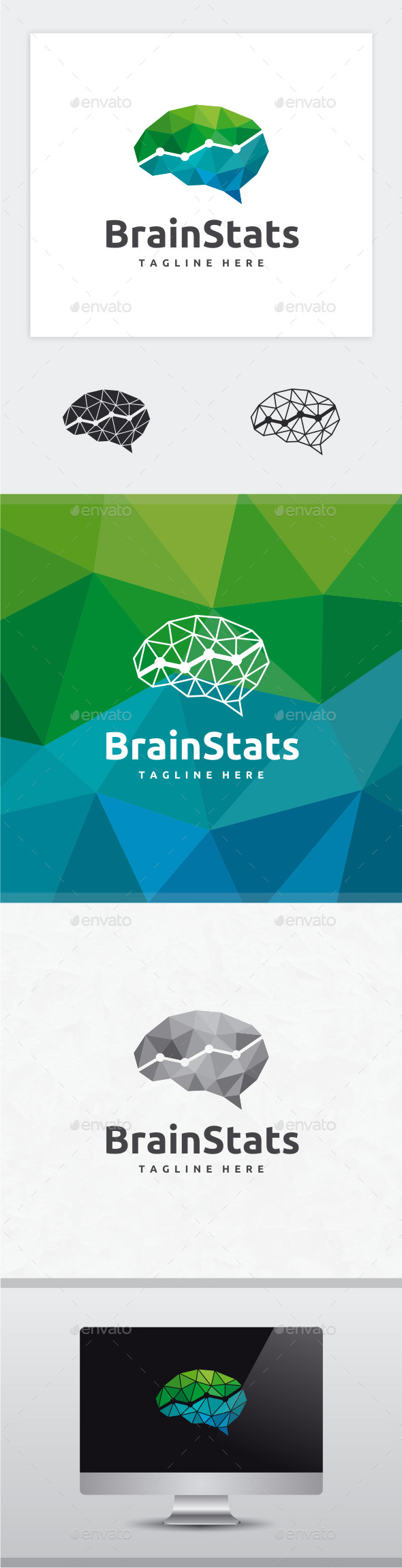 Brain Stats Logo - Vector Abstract