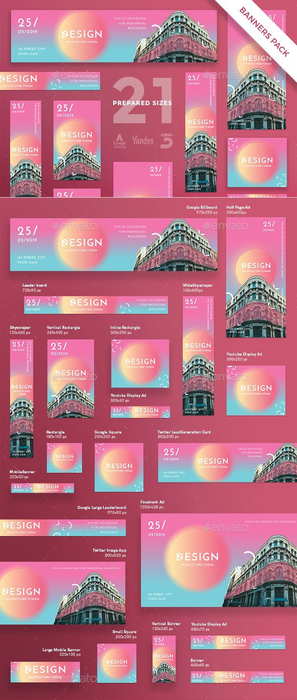 Architecture Forum Banner Pack - Banners & Ads Web Elements