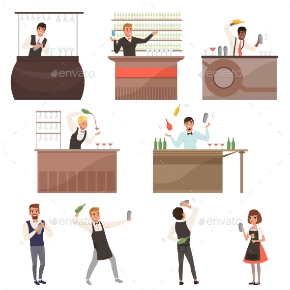 Set of Bartenders at Work Standing at the Bar - People Characters