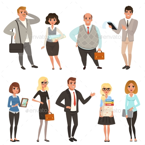 Cartoon Set of Office Managers and Workers - People Characters