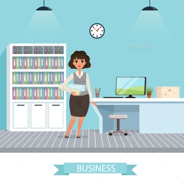 Businesswoman with Project Plans and Rolled - People Characters