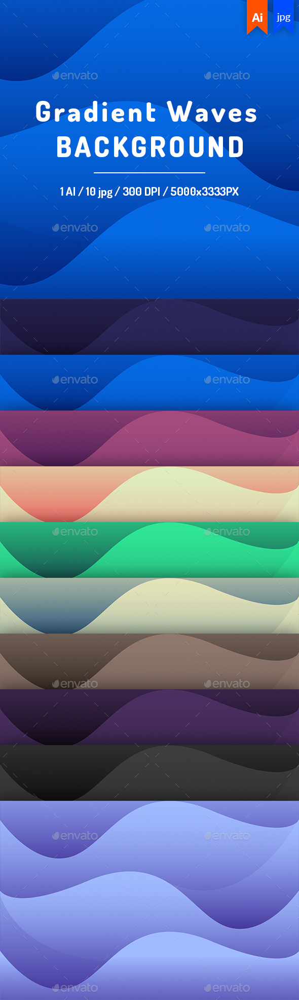 Gradient Waves Background - Backgrounds Graphics