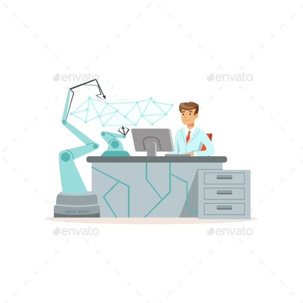 Male Scientist Working with Robotic Arm Conducting - Technology Conceptual