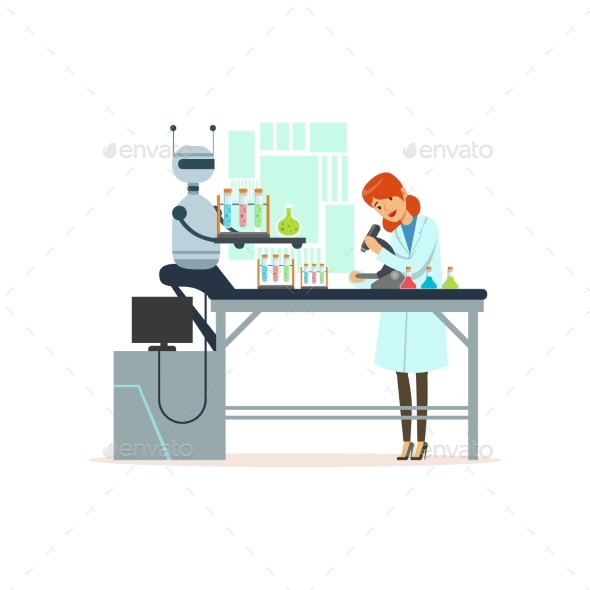 Female Scientist and Robotic Arm Conducting - Technology Conceptual