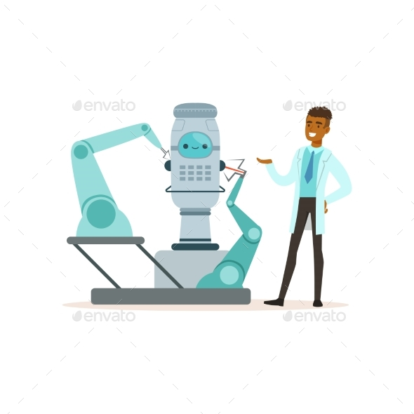 Male Scientist Working with Robot Conducting - Technology Conceptual