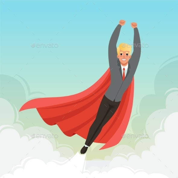 Young Businessman Flying with Hands Up on Blue Sky - People Characters