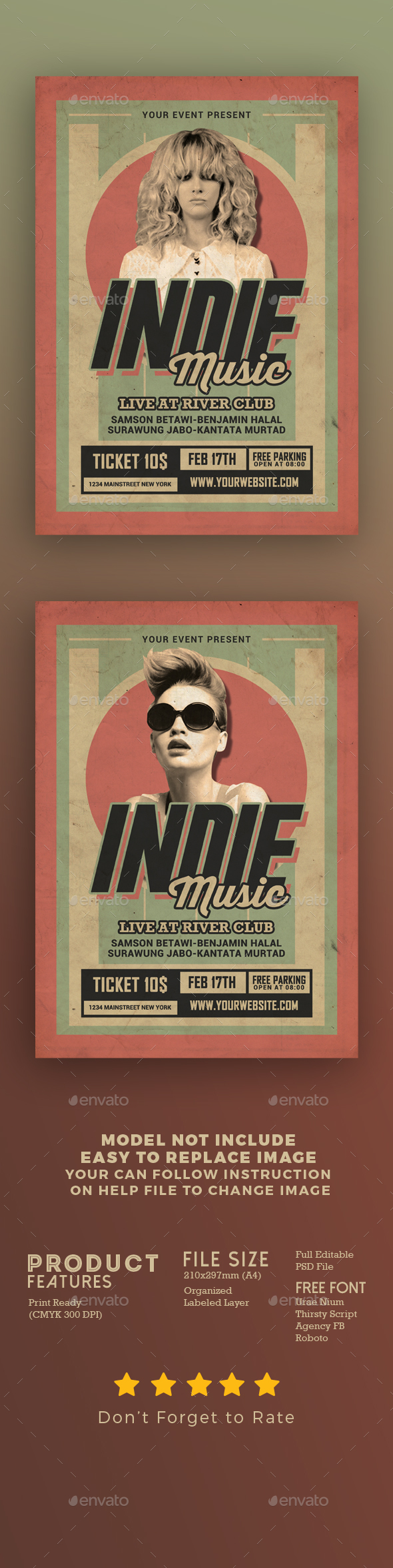 Indie Music Retro - Events Flyers