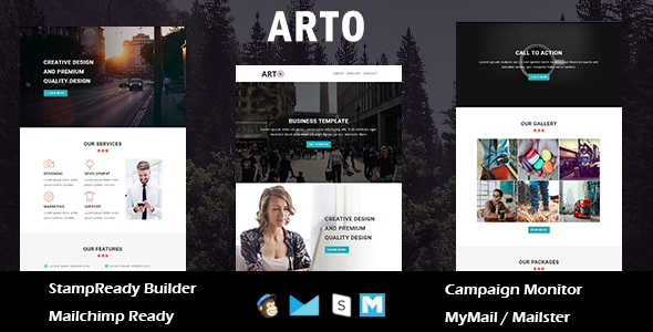Arto - Multipurpose Responsive Email Template With Online StampReady Builder Access
