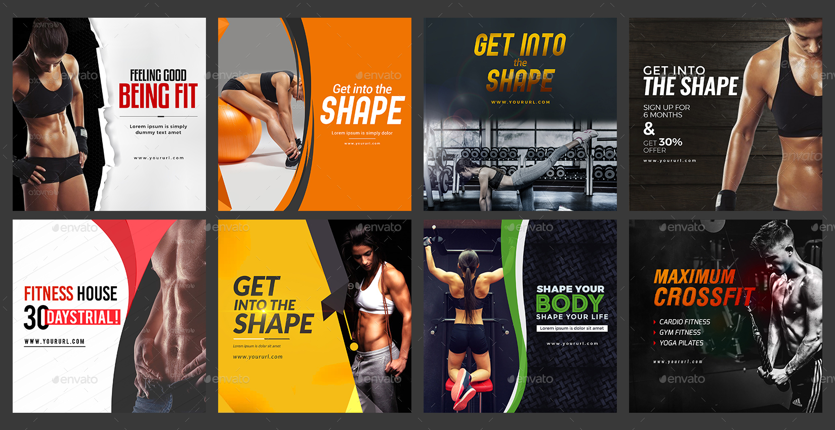 Gym fitness instagram banner templates designs by