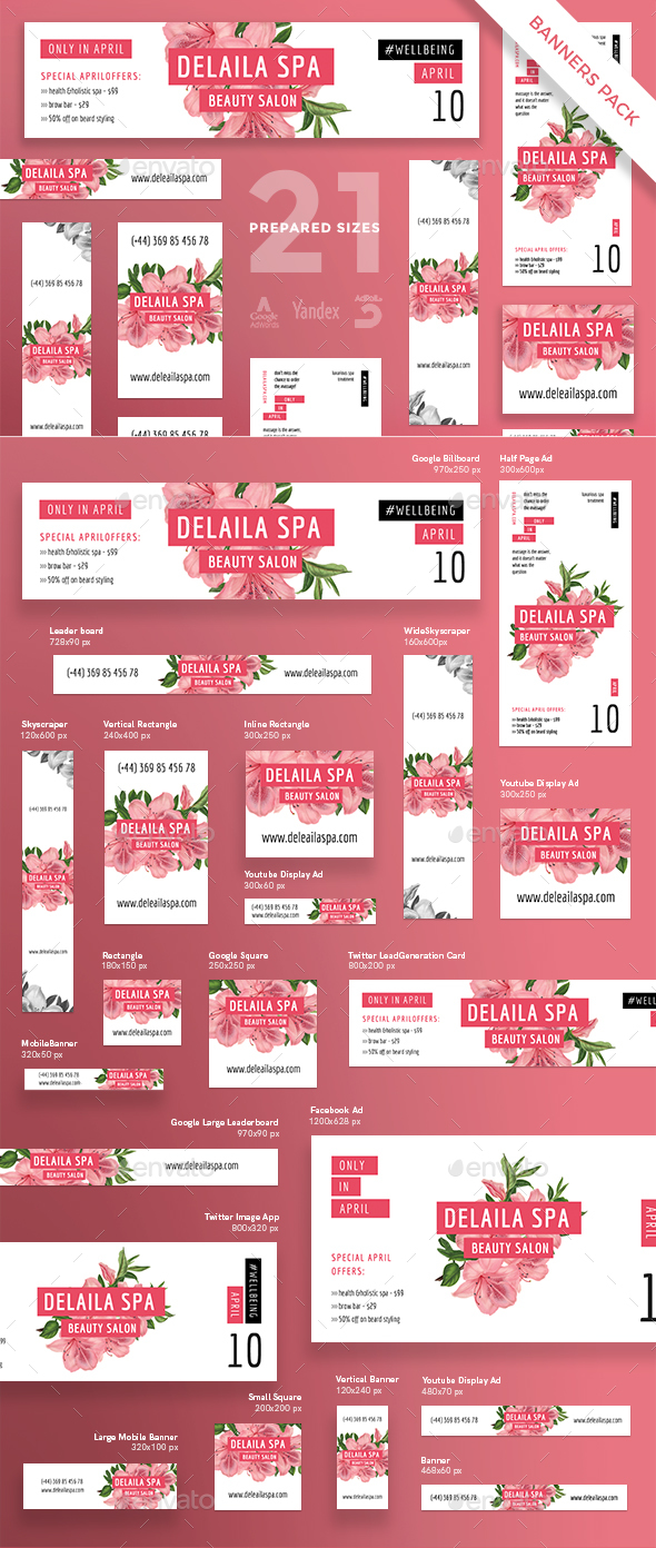 Delaila Spa Banner Pack - Banners & Ads Web Elements