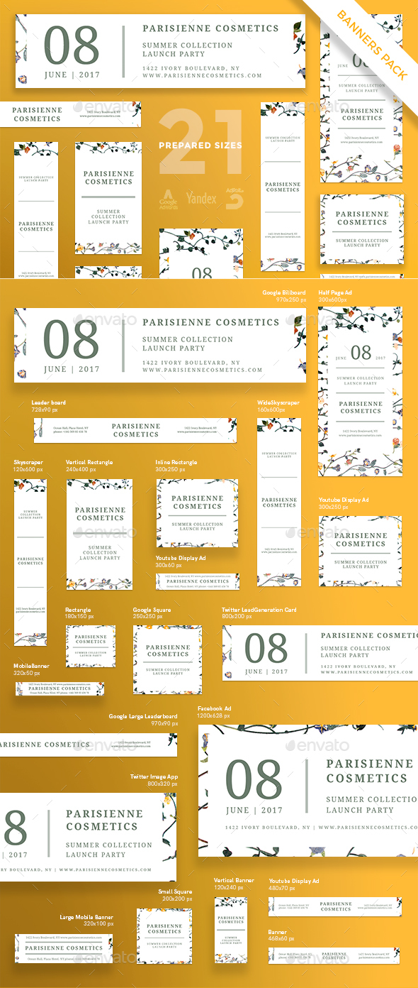 Pariseienne Cosmetics Banner Pack - Banners & Ads Web Elements