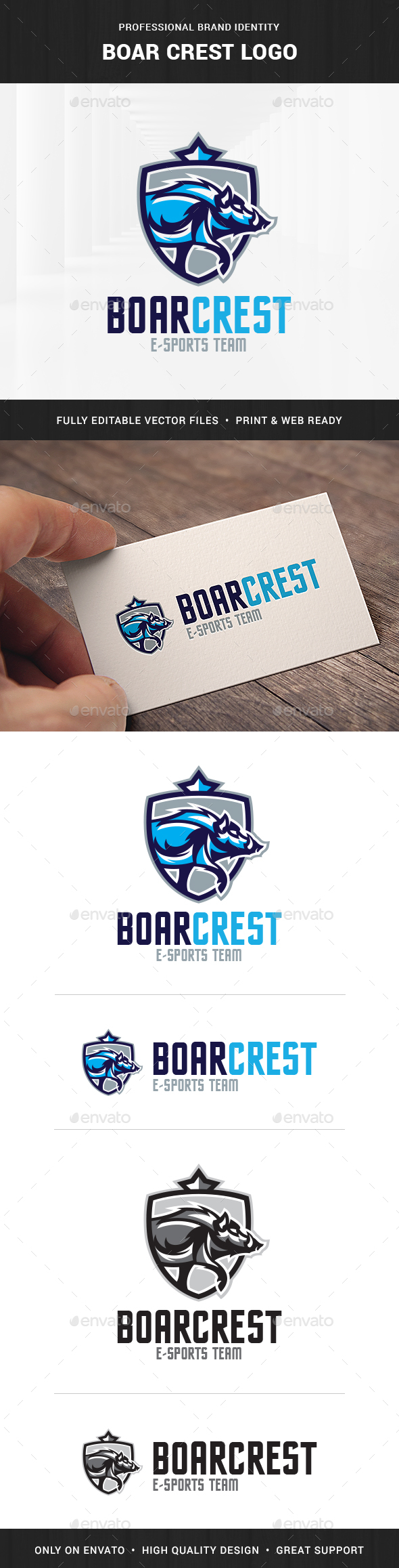 Boar Crest Logo Template - Animals Logo Templates