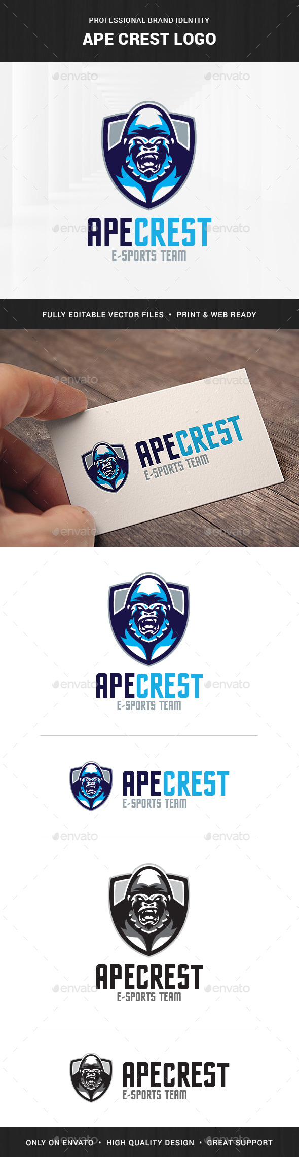 Ape Crest Logo Template - Animals Logo Templates
