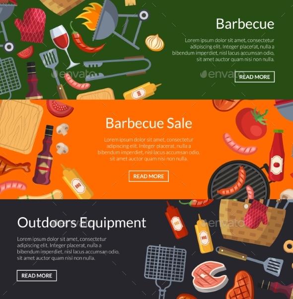 Vector Horizontal Banner Templates for Barbecue - Miscellaneous Vectors