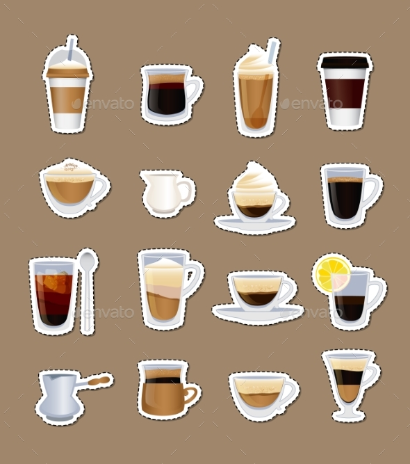 Vector Coffee Types Stickers Isolated - Miscellaneous Vectors