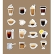 Vector Coffee Types Stickers Isolated