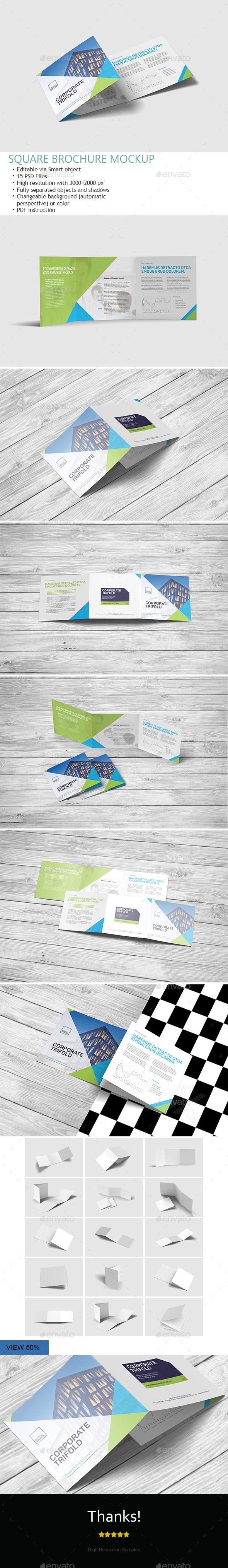 Square Trifold Brochure Mockups - Product Mock-Ups Graphics