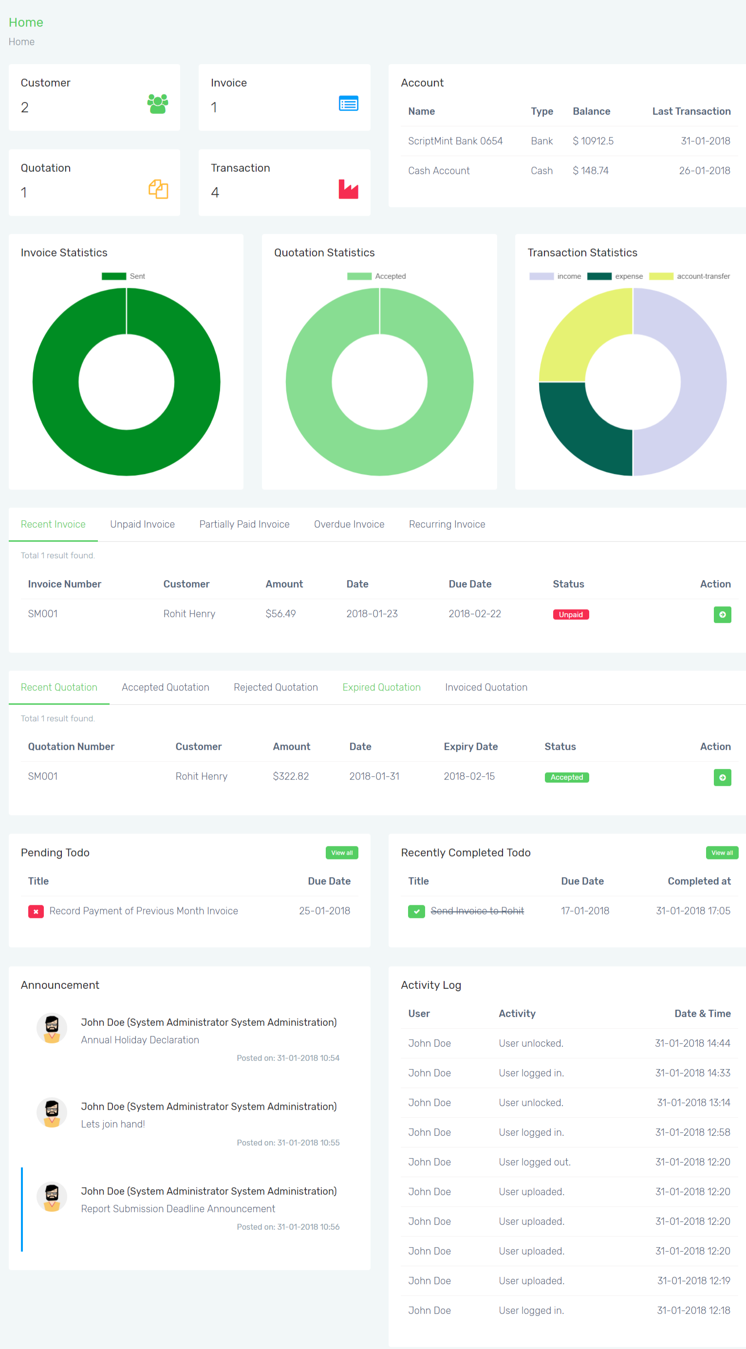 Mint Invoice - Create, Send, Pay Invoices, Paypal & Stripe Payment Gateway
