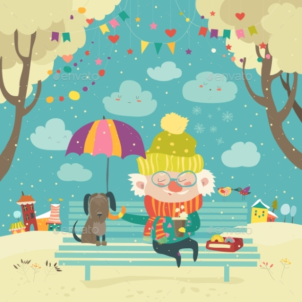 Old Man with Dog Under Umbrella - People Characters