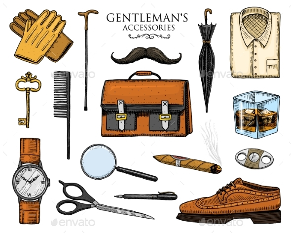 Gentleman Accessories Set - Miscellaneous Vectors