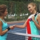 Two Girls Shaking Hands Before Playing Tennis - VideoHive Item for Sale