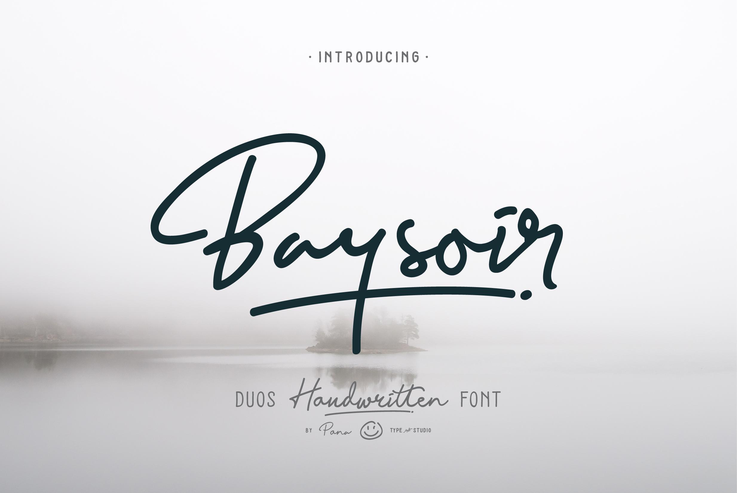 baysoir duo handwritten font by panatype