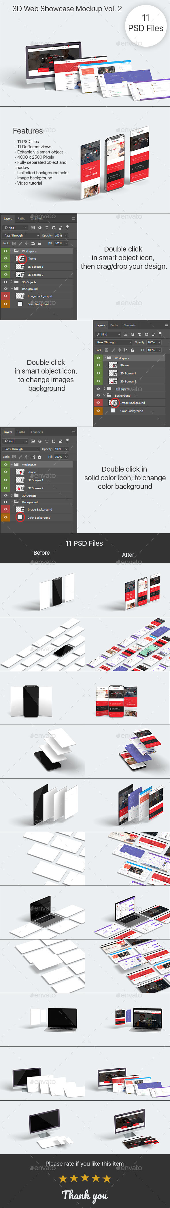 3D Web Showcase Mock-ups Vol. 2 - Displays Product Mock-Ups