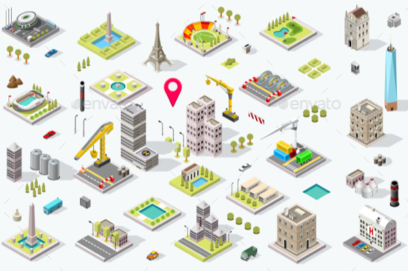 Isometric City Icon Set - Buildings Objects